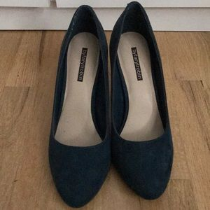 By Fair Robin Teal Suede Heels